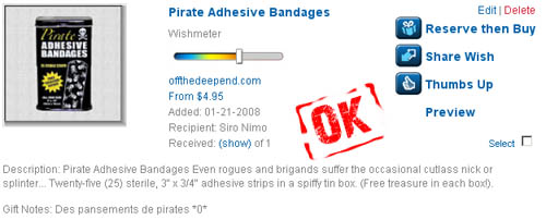pansements pirates - wish OK